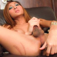 Glass toy in Ladyboy ass