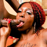 Horny ebony shemale gets banged