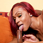 Thick black tranny Natasha Coxx shows off her big titties, sexy ass, and thick tgirl dick