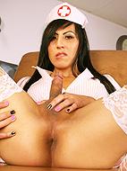 Beautiful Vivian Rockwell posing as a dirty nurse