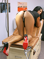 Ebony cutie Paris toying in the doctor's office