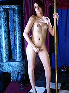 Gorgeous transsexual Addy pole dancing
