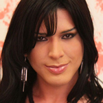 Tall slim Latina tranny shoots big load!