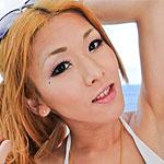 Sexy newhalf babe Karina Shiratori strips out of her white bikini on a hotel balcony