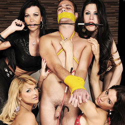 Gang of shemale dommes use and abuse their slave