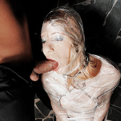 Guy bounds his shemale slave and roughs her up