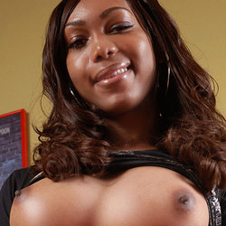 Cute Black Shemale Strips And Plays With Cock