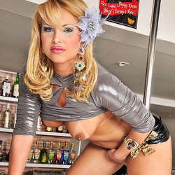 Blonde Shemale Takes The Pole At Our Bar For A Ride