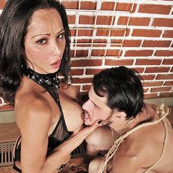 Straight guys worships his tranny mistress