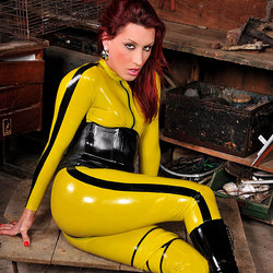 Sexy shemale in form fitting latex