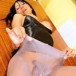 TS Luciana gets her nylons tore open and ravaged