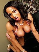 Stunning black tgirl Persia posing her big cock