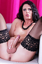 TS Lina exposing her rock hard ladystick