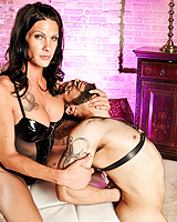 Dirty mistress Morgan punishing a guy