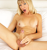 Beautiful Lora jerking her rock hard shecock