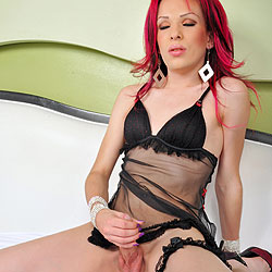 Redhead tgirl beauty playing all alone